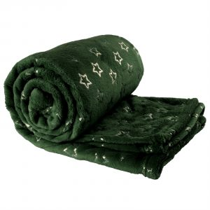 Unique Living Golden Star fleece plaid-130x160 cm-Dark Green-Unique Living-Golden Star