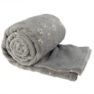 Unique Living Golden Star fleece plaid-130x160 cm-Dark grey-Unique Living-Golden Star